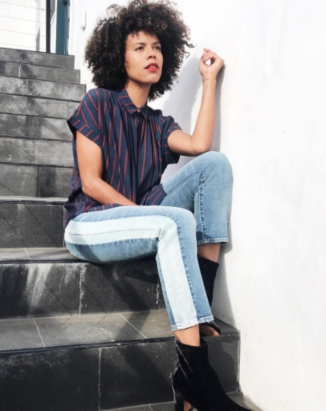 Shop the latest @grasiemercedes in , Central Drapey Shirt in Cornelia Stripe