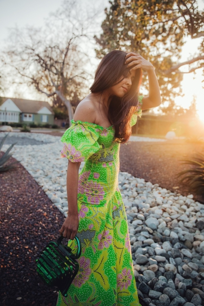 Shop the latest @walkinwonderland in , Rhode Resort - Eva Off The Shoulder Smocked Cotton Dress - Womens - Green Multi
