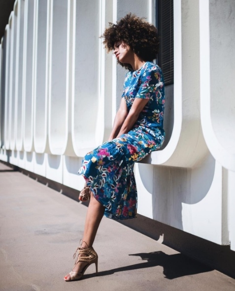 Shop the latest @grasiemercedes in , SALONI Lorna Print Ruffle Hem Midi Dress