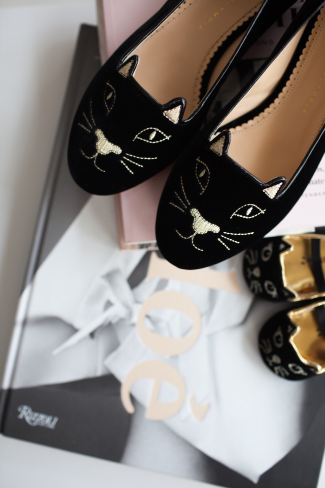 Shop the latest @brandypham in Charlotte Olympia, Kitty Embroidered Velvet Flats