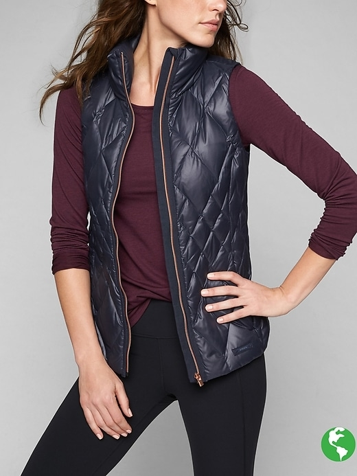 Womens Responsible Down Vest Size XS Petite - Navy/ cassis by Athleta