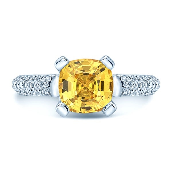 18k White Gold Yellow Sapphire and 3/4ct TDW Diamond Ring Ring by Carl K. Gumpert