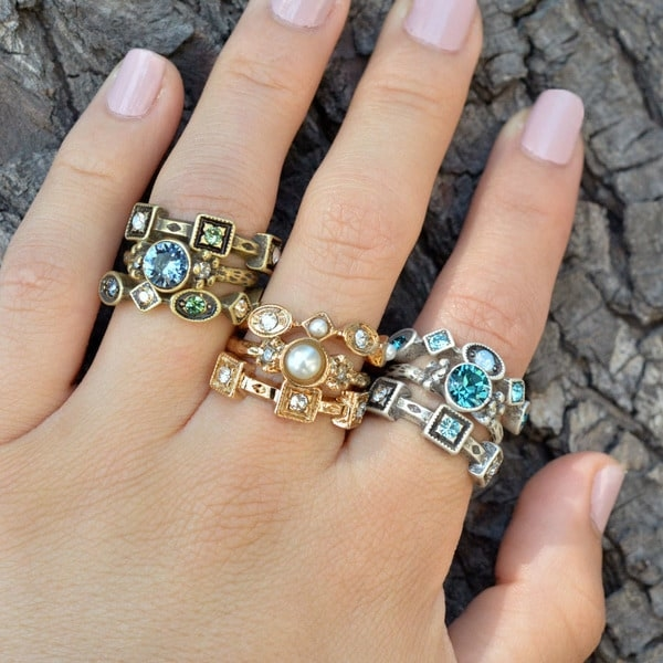 Set of 3 Inspirational Crystal Stack Rings Rings Set by Sweet Romance