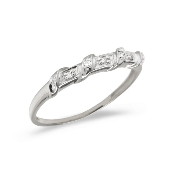 10K White Gold Diamond Band Ring Ring by Lucia Costin