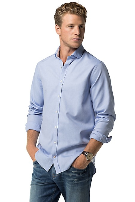 Slim Fit Solid Shirt - Shirt Blue by Tommy Hilfiger