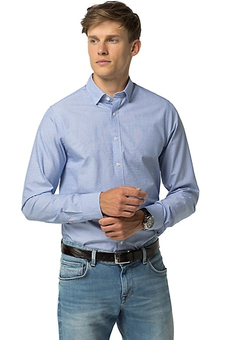 Slim Fit Dobby Shirt - Shirt Blue by Tommy Hilfiger