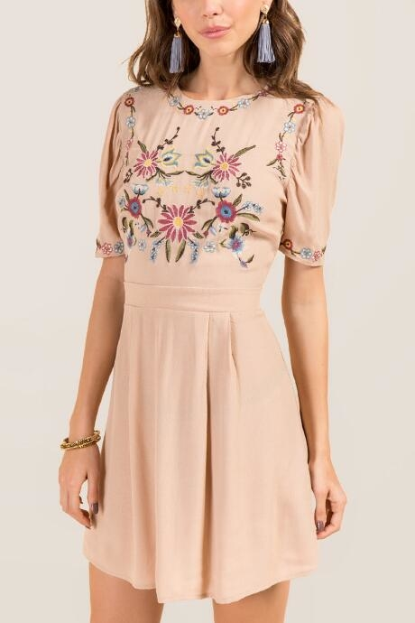 Thea Embroidered Babydoll Shift Dress - Taupe by francesca's