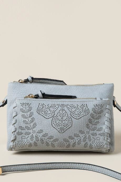 Marie Perforated Floral Crossbody - Light Gray by francesca's