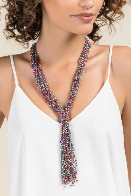 Jamie Woven Beaded Necklace - Multi by francesca's