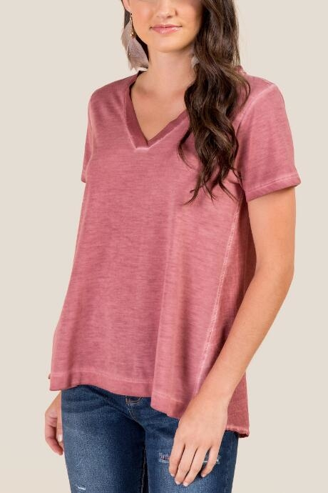 Rhys Mineral Wash Basic Tee - Rose by francesca's