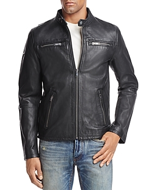 Classic Real Hero Leather Jacket by Superdry