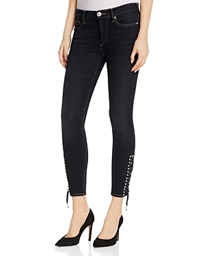 Halle Lace-Up Crop Jeans in Black Sky by True Religion