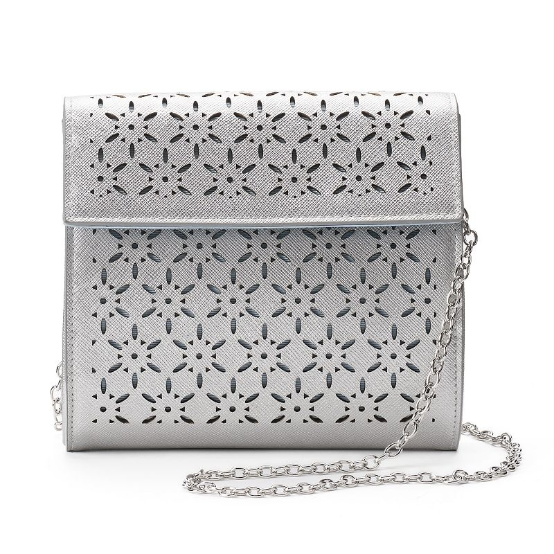 Perforated Crossbody Bag, Women's, Silver by Lenore by La Regale