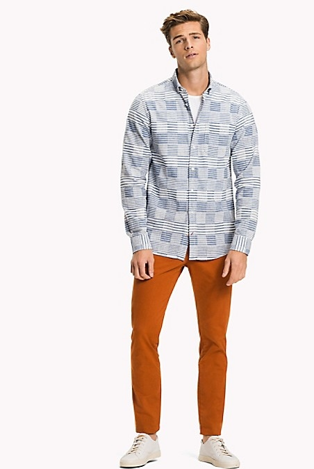 Slim Fit Print Shirt - Shirt Blue / Bright White by Tommy Hilfiger