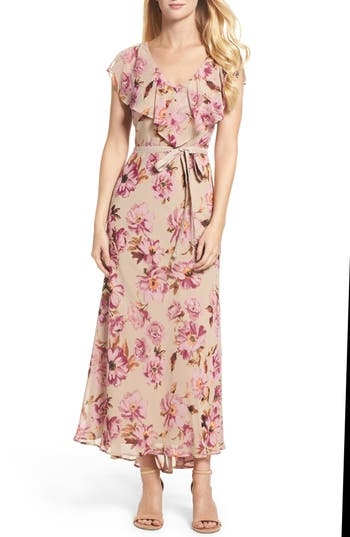 A ruffled overlay adds a feminine flourish to a romantic chiffon maxi illustrated in vintage flowers. Color(s): vintage plum. Brand: Taylor Dresses. Style Name: Taylor Dresses Chiffon Maxi Dress. Style Number: 5382214. Available in stores.
