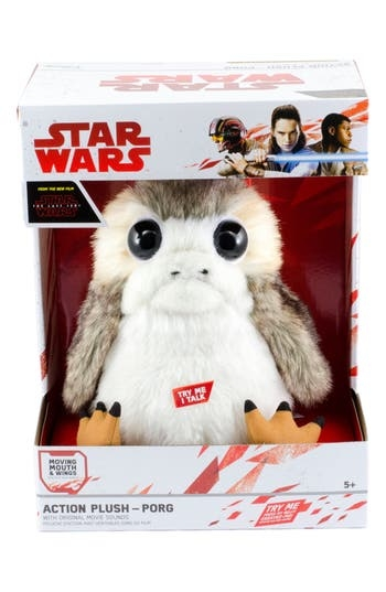 This scene-stealing plush Porg is a must-have for any aspiring Jedi or Resistance fighter. Squeeze its belly to hear one of three Porg phrases from The Last Jedi and see the mouth and wings move. Style Name: Underground Toys Star Wars The Last Jedi - Talking Porg Stuffed Toy. Style Number: 5509742. Available in stores.