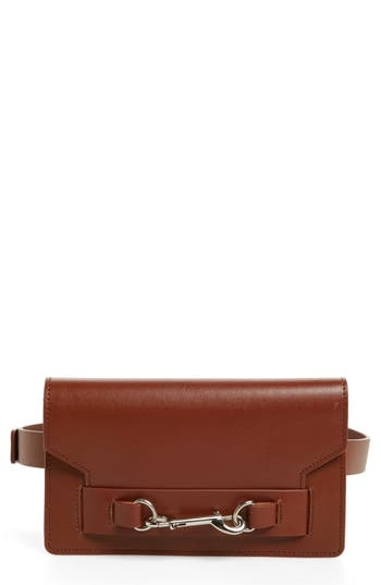 Distinctive leash clip-lock hardware accents the flap of a trim belt bag made from burnished calfskin leather. Style Name: Rebecca Minkoff Belt Bag. Style Number: 5320844. Available in stores.