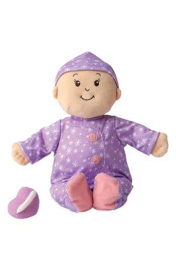An adorable doll named Stella is the perfect companion for your little one during nap- or bedtime. With a smiling face and charming pajamas, this soft baby is the right size for cuddling and hugs. Every time she gets a little squeeze, Stella gives off a soothing lavender scent to help encourage sleep. She arrives with a soft stuffed animal and bottle. Style Name: Manhattan Toy Baby Stella - Sweet Dreams Doll Toy. Style Number: 5340481. Available in stores.