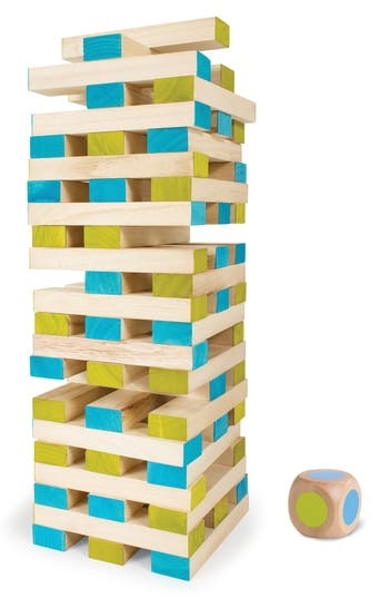 Made from Paulownia wood, this set of 60 building blocks and a color-tipped dice can be used to play all kinds of fun games, or just for building. Style Name: Bs Toys Large Wood Block Tower Toy. Style Number: 5634157. Available in stores.