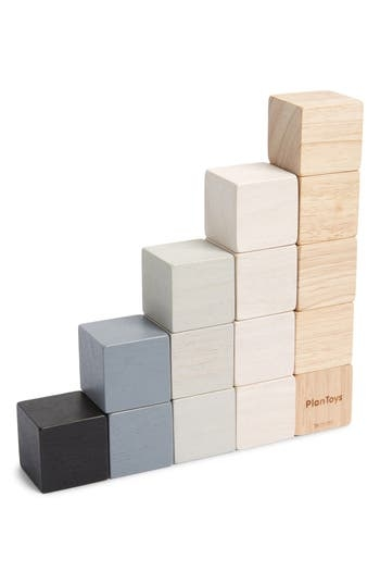 Stack, build and match this set of fifteen wooden blocks in different colors as your little one begins to understand counting, ordering and comparing at an early age. Style Name: Plan Toys Cubes Play Set. Style Number: 5632257. Available in stores.