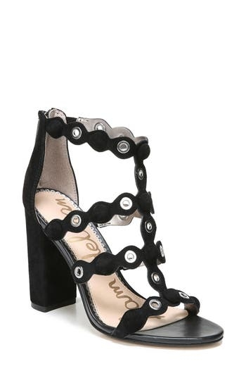Gleaming grommets and covered buttons punctuate the curvy, scalloped cage straps of a tall sandal lofted on a towering demi-block heel. Style Name: Sam Edelman Yuli Grommet Sandal (Women). Style Number: 5473304. Available in stores.