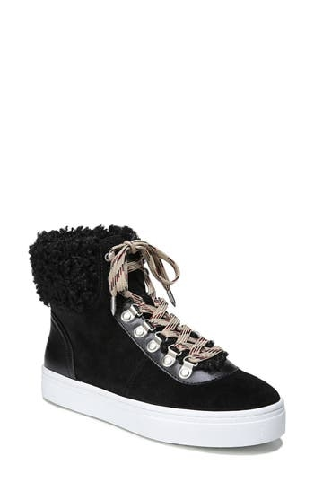 Curly faux-shearling covers the cuff and peeks from within the sporty laces of ae retro-inspired high-top sneaker set on a platform bumper sole. Style Name: Sam Edelman Luther Faux Shearling High Top Sneaker (Women). Style Number: 5432832. Available in stores.