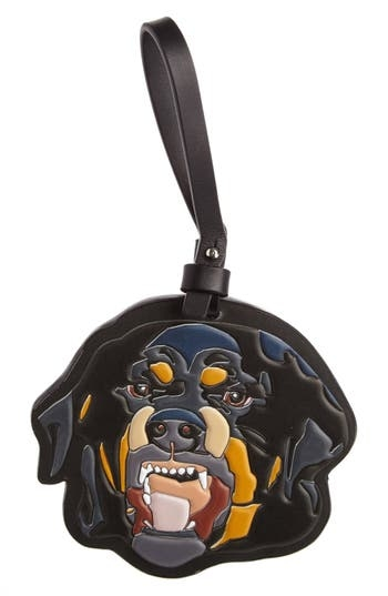 A teeth-bared Rottie stands ready to guard your favorite handbag in this leather bag charm with ferocious appeal. Style Name: Givenchy Rottweiler Bag Charm. Style Number: 5267344. Available in stores.