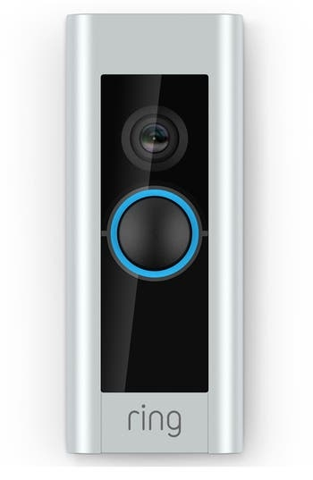 No longer do you need to peek through the blinds or peephole when someone comes ringing your doorbell. You don't even have to be home. This intuitive, video-enabled doorbell streams live and 1080p HD video straight to your smart device with a 160- degree view of whoever is standing on your welcome mat, as well as offering two-way noise-canceling audio, motion tracking, alerts, and night vision when you're safeguarding against theft and burglary. Style Name: Ring Video Doorbell Pro. Style Number: 5468843. Available in stores.