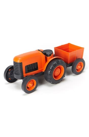 Little farmers can harvest and haul bountiful crops with this toy tractor made entirely from recycled plastic milk jugs. The chunky, sturdy and durable shape is perfect for little hands and puts a whole new spin on farm-to-table. Style Name: Green Toys Toy Tractor Set. Style Number: 5213628. Available in stores.
