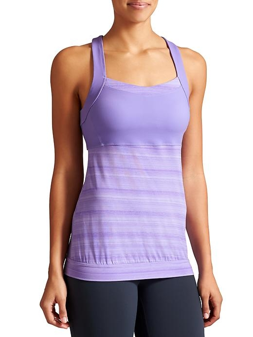 The tank designed for the gym that easily crosses over to run with high support built right in and lightweight, breezy fabric.