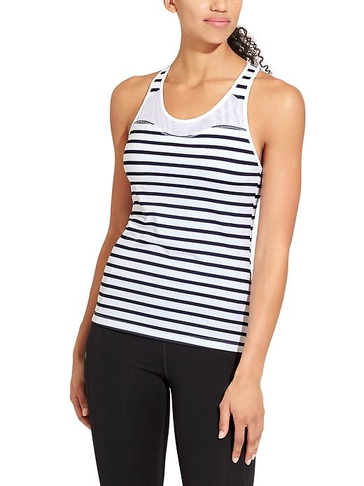 The high-neck support tank with strategically-placed mesh to keep your cool while sprinting in gym class.