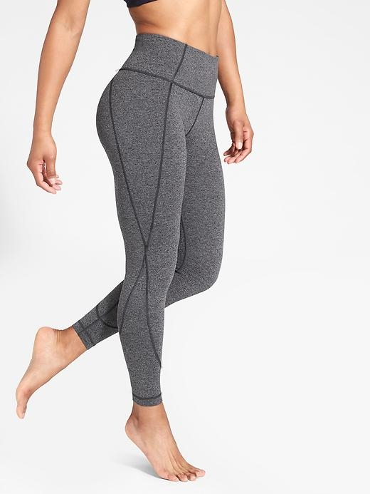 It's all about our new, amazing Powervita fabric with a barely-there yet hugged-in feel that gives you total freedom of movement in your asanas, in our flattering 7/8 length.