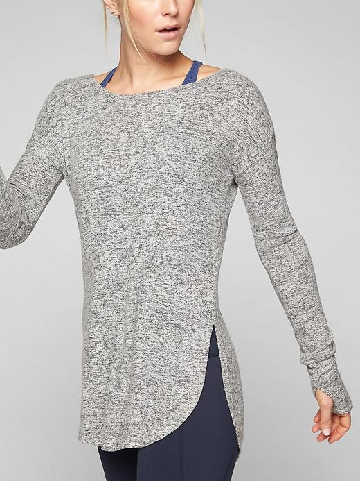 Now with a luxe brushed finish, this customer-favorite top is uber-soft, drapes perfectly and features an asset-flattering shirttail hem for great coverage.