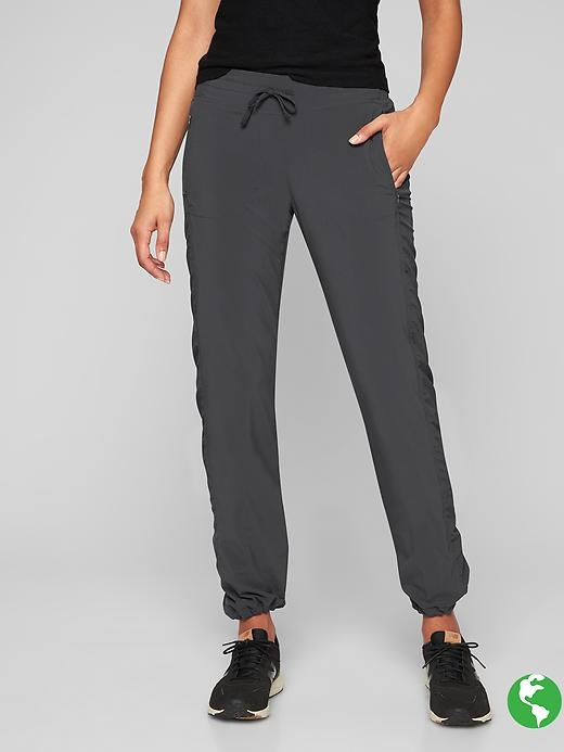 The ruched Featherweight Stretch pant with a fully adjustable NeverEnd drawstring at the hem to scrunch up or down plus a soft lining for cold days to and from the gym.