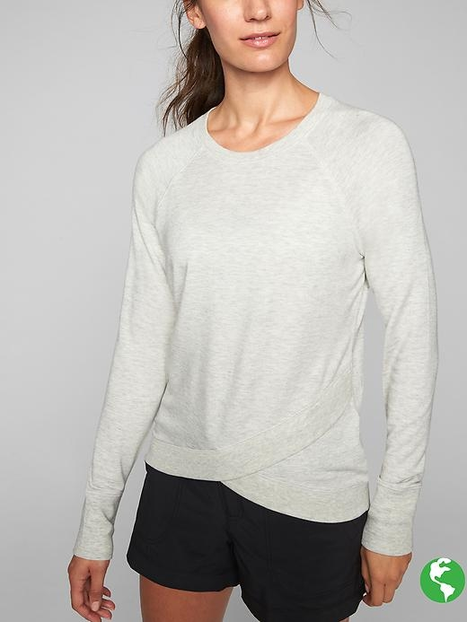 Your favorite sweatshirt gets modern with a crossover front hem and super soft Nirvana fabric.