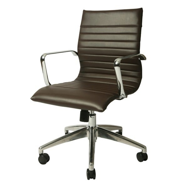 The Janette office chair has a retro and modern flair that will brighten any room. The chair features a durable chrome and aluminum frame with wheel casters. It is comfortably upholstered and the mechanical features include an adjustable tilt tension control and lift-adjustable seat height.    Adjustable Height, Swivel  Type: Task Chairs  Chair Back Height: Standard  Color: Espresso  Material: Steel, Aluminum, Faux Leather  Dimensions: 39 inches high x 24 inches wide x 25 inches long     Assembly required.
