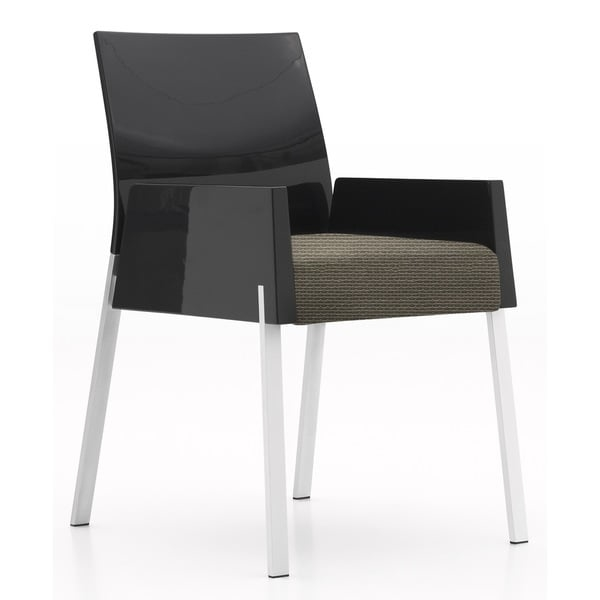 This side chair will make a great addition to your dining room, but would look great in any room of the house. With a fabric seat and wood backing and armrests, this chair has a sleek and modern look, supported by aluminum legs. Modernize your home with this minimal design chair.    Chair Type: Arm Chairs  Material: Fabric, MDF, Aluminum  Style: Contemporary  Chair Back Height: Standard  Color: Black, Brown  Dimensions: 20.3 inches long x 22 inches wide x 31.5 inches high