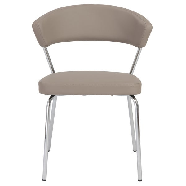 Add simple, graceful flair to any space with theDraco Taupe and Chrome Dining Chairs. These chairs feature a four-leg chrome base with taupe leather upholstery that you will be sure to love.    Includes: Four (4) chairs  Chair Type: Arm Chairs, Dining Chairs, Dining Chairs  Material: Leather, Steel  Style: Modern, Casual, Contemporary  Assembly: Assembly Required  Color: Taupe  Dimensions:22.84 inches long x 22.64 inches wide x 30.32 inches high         Assembly Required