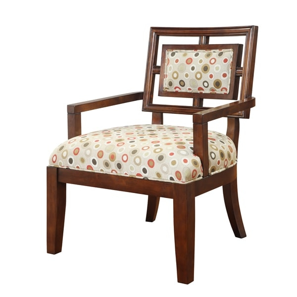 This chair is luxuriously proportioned and features a fun geometric fabric that brings in many neutral colors to help give a splash to any décor. Some assembly required.    Set includes: One (1) Chair  Chair Type: Arm Chairs  Chair Back Height: Standard  Style: Contemporary  Pattern: Geometric  Finish: Merlot  Color: Red, Cream  Material: Foam, Polyester, Wood  Weight capacity: 250 lbs  Dimensions: 27 inches wide x 28 inches deep x 36 inches high  Care instructions: Spot clean       Assembly Required