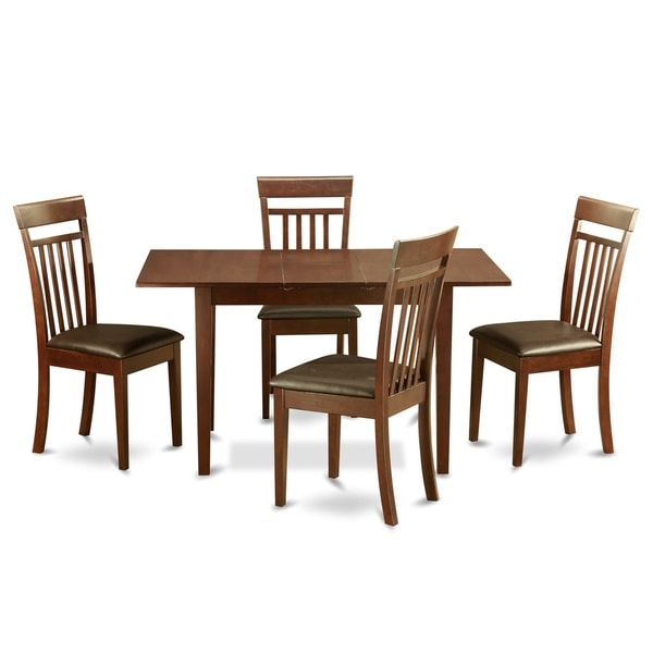 Along with the dining table, in addition, it has with it a whole set of luxurious dining chairs for a very comfy eating experience with Faux leather or Wood seat. This formal table set was made out of excellent wood to be sure that it's strong and that it will delight you for a very long time. Its innovative finish makes a pleasantly warm appearance to the eyes plus makes it very easy to clean up.   Reputable Dining set which crafted from all Asian Hardwood. Certainly no MDF, veneer, laminate utilized for these items. Kitchen Table Has 12 In Self Storage Leaf That Could Be Stored Right Below Table Top.    Assembly Required         Shape: Rectangle   Furniture Room: Dining Room, Kitchen   Material: Rubberwood   Style: Traditional, Casual, Country   Assembly: Assembly Required   Exact Color: Mahogany   Finish: Mahogany Finish   Size: 5-Piece Sets   Color: Mahogany   Dimensions: Table: 42 inches long x 36 inches wide x 29.5 inches high (extends to 54 inches long); Chair: 17.5 inches long x 17 inches wide x 38.5 inches high       Please note: Orders of 151 pounds or more will be shipped via Freight carrier and our Oversized Item Delivery/Return policy will apply. Please click here for more information.