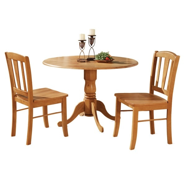 The dinette set match nicely in any typical kitchen or dining-room. Supported by a one pedestal, this particular rounded kitchen tables and chairs additionally comes with great two drop leaves Its measurements makes the perfect dinette set for first-time shoppers or small households. The kitchen dining chairs include eye-catching structure for more high level of comfort and back support. Top-quality kitchen dining set which manufactured from all Asian Hardwood. No MDF, veneer, laminate used within these items. Round Table Top Has Two 9-Inch Drop Leaves Great For Small Dining Space     Assembly Required           Shape: Round    Furniture Room: Dining Room, Kitchen    Material: Rubberwood    Style: Traditional, Casual, Country    Assembly: Assembly Required    Exact Color: Oak    Finish: Oak Finish    Size: 3-Piece Sets    Color: Brown