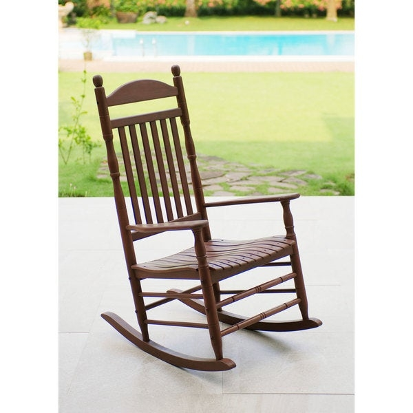 Relax on the front porch or in the living room with the traditional Alston rocking chair. Crafted from solid mahogany with a natural finish, this rocking chair is for years of enjoyment and features a contoured seat and wide armrests for superior comfort and smooth motion.      Includes: One (1) rocking chair  Chair Type: Rocking Chairs   Material: Mahogany   Style: Traditional   Chair Back Height: Standard   Size: Single   Finish: Natural  Dimensions: 26.25 inches long x 33.75 inches wide x 46.5 inches high      Assembly Required