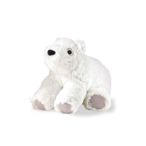 Snuggle up for story time with this plush toy bear. The weighted feet keep him seated and the soft faux fur design gives your child an extra place to cuddle during the night.    Made of soft white faux fur with suede-like fabric on paws  Weighted feet keep this plush toy level  Spot clean for best results  For ages birth to 12 months  Measures 6 inches high x 9 inches wide x 4 inches deep