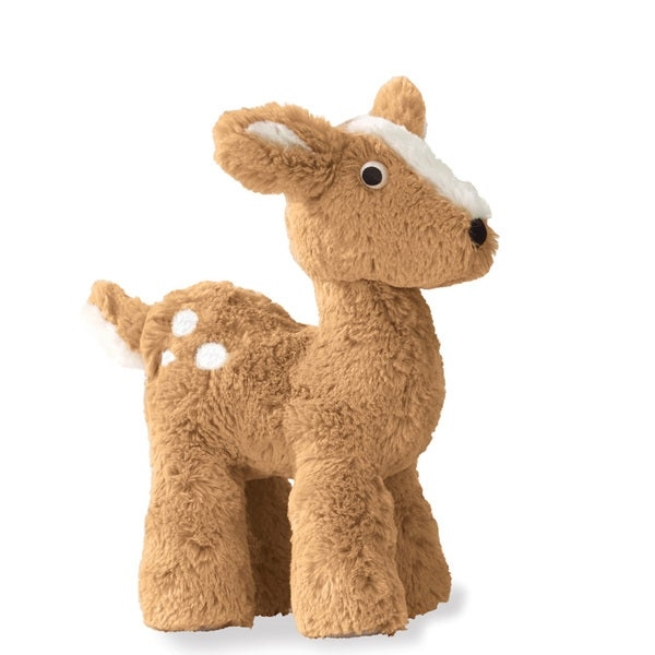 Solve the problem of forcing naps on your little tyke by introducing Basil the Deer, an ultra-soft plush toy designed for cuddling to make sleeping easier. Basil also features weighted feet that enable him to stand in place when he's not carried around.    Basil the Deer has a playful expression, with a white tail, spots and hooves  Plush toy features ultra-soft fabric perfect for hugging  Basil has weighted feet to stand while not being carried around  Stuffed animal is durable to withstand years of companionshiop  For all ages  Surface washable  Measures 10 inches tall x 7 inches long x 3 inches wide
