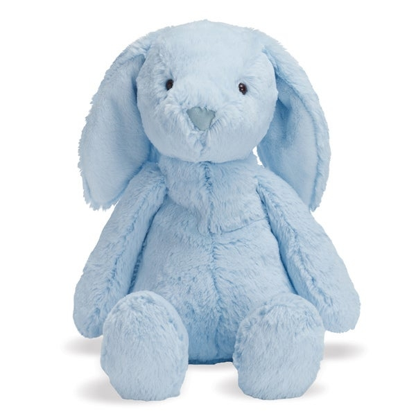 Make sure your child always has a soft, cuddly friend nearby by adding this floppy-eared Bailey Bunny plush toy to the toy box. Made from luxuriously soft plush material, this cutesy bunny will leave paw prints on your child's heart and has a weighted base to help it stay upright on a nightstand or elsewhere.    Sweet Bailey Bunny is made from soft plush material for a gentle touch  Pellets in the bottom of the bunny keep it sitting upright during afternoon tea  Light blue bunny measures 10 inches tall when seated  Ideal for children from birth on up