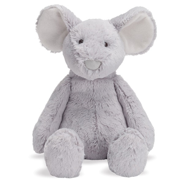 Sit this Mimi Mouse plush toy on your bookshelf using the weighted pellet-filled bottom, or cuddle the mouse when a lovey is needed. The plush fabric is soft to the touch, and the durable construction lets this toy provide years of fun.    Made for ages birth to 12 months  Surface washable only  Soft fabric is ideal for cuddling  Toy stands 10 inches tall while seated
