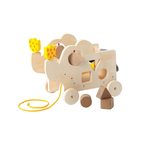 Help your child develop motor skills with this wood toy including a shape sorter, spinning dials and beads. Your toddler can push the toy over any flooring surface or use the pull cord.    For children ages 12 - 24 months  Ideal for boys or girls  Includes a pull cord and rubber trimmed wheels for use on any flooring surface  Non-toxic, water-based finish for safety  Measures 8 inches x 6 inches x 10 inches  Multi-colored wood toy  Includes beads, shape sorters and spinning dials