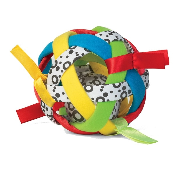 Pique your little one's interest with this colorful Bababall baby activity toy. Featuring woven bands of various colors and patterns, this infant ball offers so much for your child to look at and touch. Satin ribbons connected to the exterior help improve your child's tactile movements.    Suitable for toddlers aged 1 year and below  Designed for boys and girls  Made of durable fabric and satin ribbons  Designed with captivating colors and patterns and features a rattling center  Measures 5 inches in circumference  Available in different colors