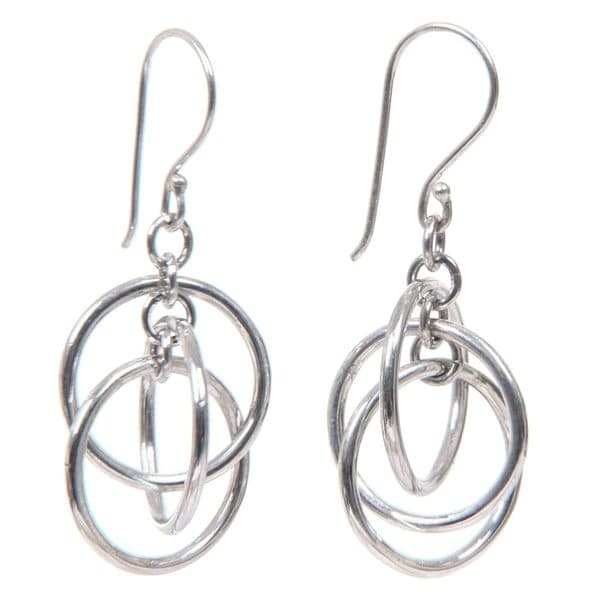 This handmade creation is offered in partnership with NOVICA, in association with National Geographic.  Three jingling rings dance on sterling silver earrings. Always modern in her vision, Bali's Sukartini handcrafts this novel earrings.   Product Features:   Style: Dangle  Metal: Sterling silver  Finish: Combination  Clasp: Hook  Metal weight: 5 grams  Dimensions: 18 mm wide x 41 mm long    Story Behind the Art:  'My mother instilled in me the value of a 'Balinese woman,' including how to prepare temple offerings. I took courses in the traditional art of silver.'   What is Worldstock?    The handcrafted touch of artisan skill creates variations in color, size and design. If buying two of the same item, slight differences should be expected. Note: Color discrepancies may occur between this product and your computer screen.    Imported     All weights and measurements are approximate and may vary slightly from the listed information.    Please allow 10 business days for the product to leave our warehouse and to receive tracking information. You should expect to receive this item within 15 business days.     Worldstock Country: Indonesia  Product Features: Handmade  Style: Dangling  Material: Sterling Silver  Jewelry Finish: High Polish  Metal Color: White  Metal: Sterling Silver  Exact Color: Grey          All measurements are approximate and may vary slightly from the listed dimensions.