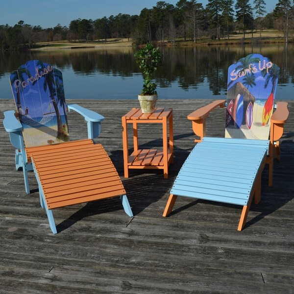 Colorfully designed our Corolla Adirondack chair and ottoman set are easy to set up. You can enjoy the rest of the day, weekend or entire season from the best seat outside the house. The colorful design will give any outdoor space a pop of color and life. Our chairs are made from solid select Asian hardwoods. You can pair with our Corolla side table to complete your set.    Set includes one chair and one ottoman  Comfortable seating angle  Colorful painted on scene  Set includes: 1 Chair and 1 Ottoman  Materials: Solid Wood  Finish: Surf's Up Design or Paradise Design  Weight: 32-pounds  Seat dimensions: 15.25 inches wide x 16 inches deep x 14 inches high  Chair Dimensions: 29.5 inches wide x 36.5 inches deep x 36.5 inches high   Ottoman Dimensions: 23 inches wide x 20 inches deep x 14.15 inches high  Chair Type: Adirondack Chairs, Chair & Ottoman Sets  Product Features: Ottoman Included, Water Resistant  Style: Contemporary, Modern  Material: Wood  Assembly: Assembly Required  Chair Back Height: Standard  Exact Color: Blue, Orange  Size: 2-Piece Sets  Color: Blue, Orange          Assembly required.          This product is intended for Residential Use Only.     Manufacturer's Warranty (including Return Policy) is null and void if used in an improper setting        Assembly Required